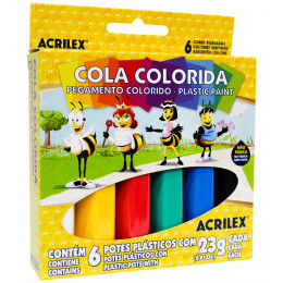Cola Colorida Acrilex 6 Cores 23grs